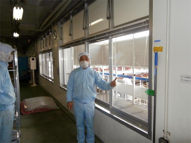サン・ウインドエコ窓の導入事例:L社アイスクリーム工場様01