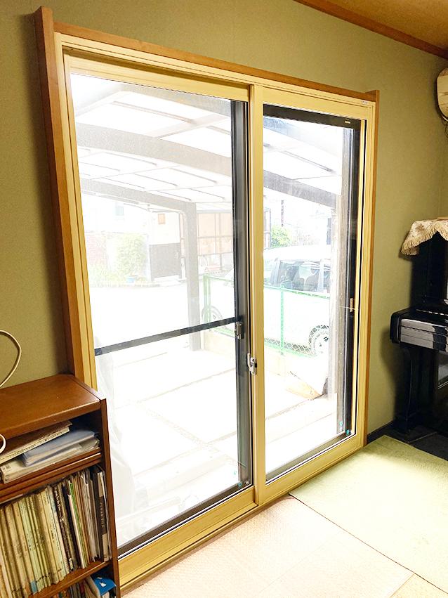 内窓プラスト&防音合わせガラス施工後(掃き出し窓)